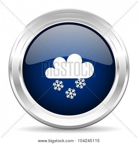 snowing cirle glossy dark blue web icon on white background