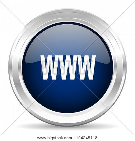 www cirle glossy dark blue web icon on white background