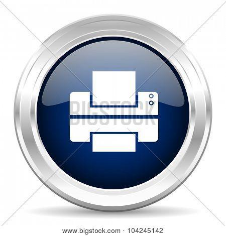 printer cirle glossy dark blue web icon on white background