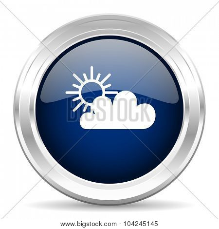 cloud cirle glossy dark blue web icon on white background