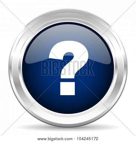 question mark cirle glossy dark blue web icon on white background