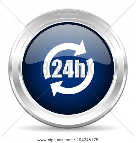 24h cirle glossy dark blue web icon on white background
