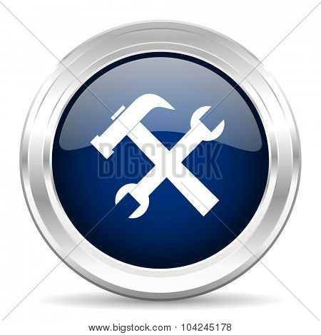 tool cirle glossy dark blue web icon on white background