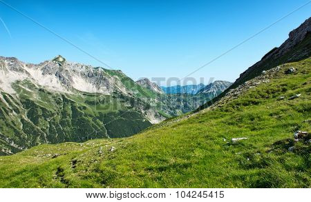 Mountain Range of the Alps as seen from the Fuchsen saddle near Hochvogel, Tyrol, Austria