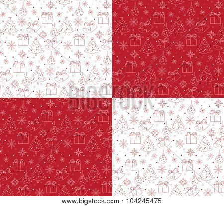Seamless Merry Christmas Pattern of Line Drawings
