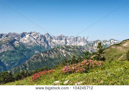 Alpine moutains near Hochvogel and Hinterhornbach in Tyrol Austria