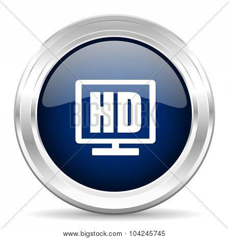 hd display cirle glossy dark blue web icon on white background