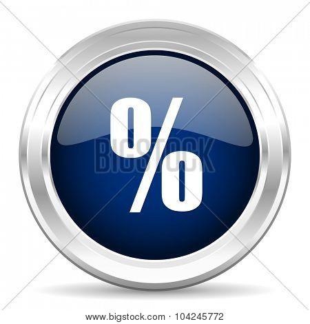 percent cirle glossy dark blue web icon on white background