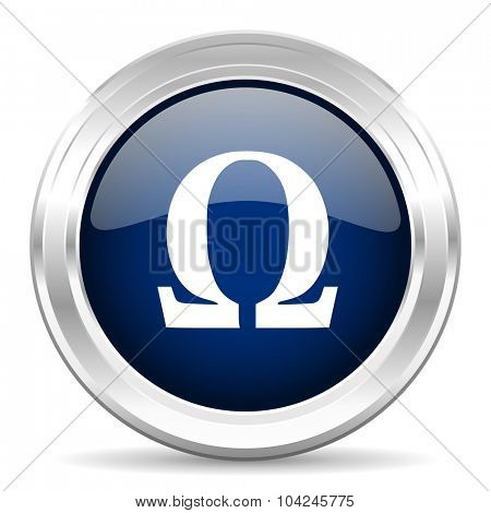omega cirle glossy dark blue web icon on white background