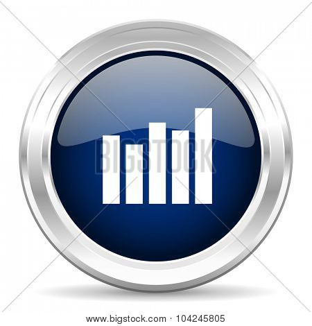 graph cirle glossy dark blue web icon on white background