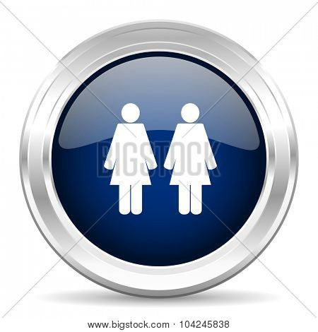 couple cirle glossy dark blue web icon on white background
