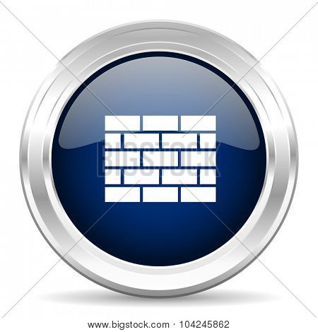 firewall cirle glossy dark blue web icon on white background