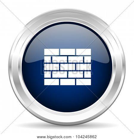 firewall cirle glossy dark blue web icon on white background