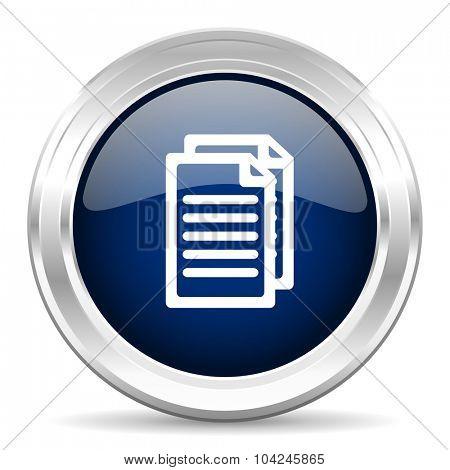 document cirle glossy dark blue web icon on white background