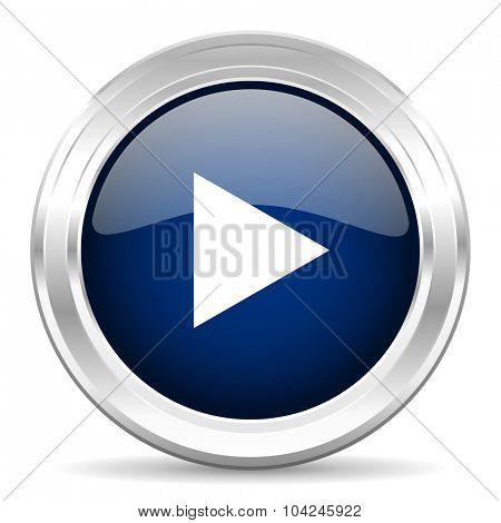 play cirle glossy dark blue web icon on white background