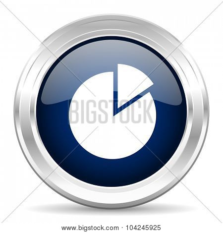 chart cirle glossy dark blue web icon on white background