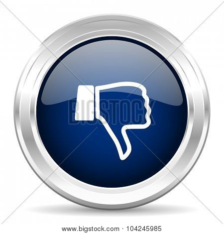 dislike cirle glossy dark blue web icon on white background