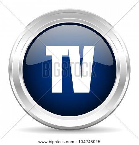 tv cirle glossy dark blue web icon on white background