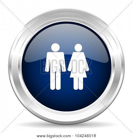 couple cirle glossy dark blue web icon on white background