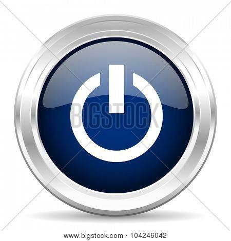 power cirle glossy dark blue web icon on white background