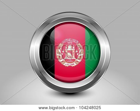 Flag Of Afghanistan. Metal Round Icon