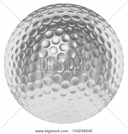 Silver Golfball Isolated On White