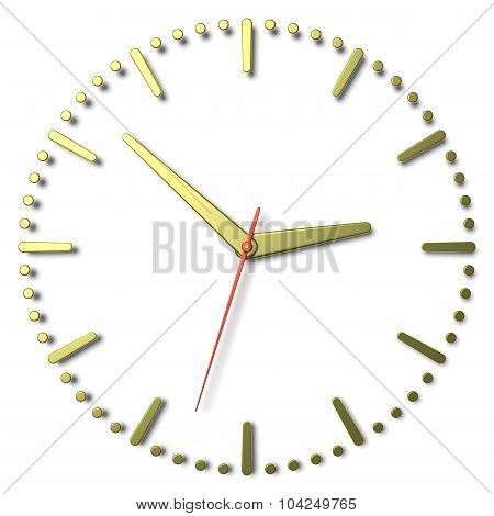 Simple Clock Face With Yellow Metal Hands And Marks And Red Second Hand
