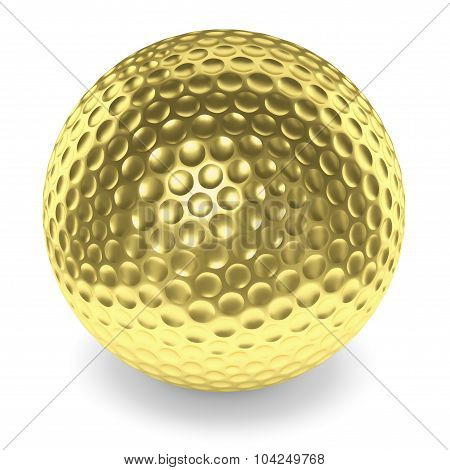Golden Golfball With Shadow Isolated On White