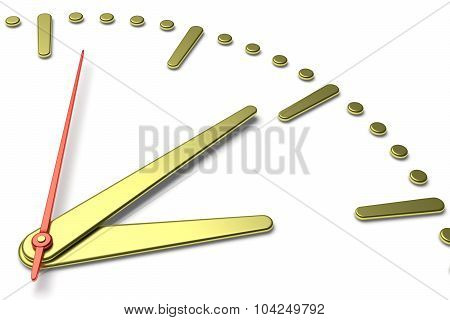 Simple Clock Face With Yellow Metal Hands And Marks, Diagonal View