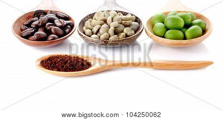 Fresh Coffee,roasted Coffee,ground Coffee,wooden Spoon On White Background.