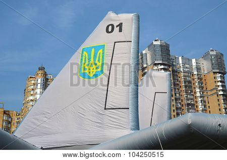 KIEV, UKRAINE - September 23, 2015: Ukrainian military jet imitation.Balloon