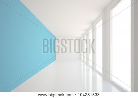 Digitally generated Modern blue and white room