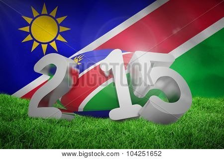 Namibia rugby 2015 message against namibian flag on white background