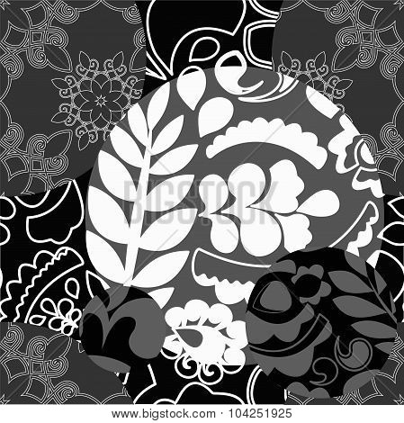 Seamless Black And White Patchwork Pattern With Flowers - Stock Vector