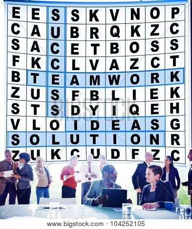 Success Crossword Puzzle Words Achievement Game Concept