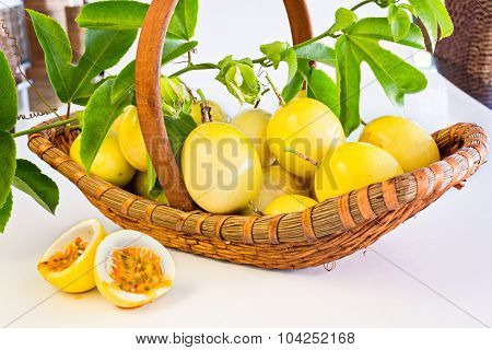 Passion Fruit Basket On White Background