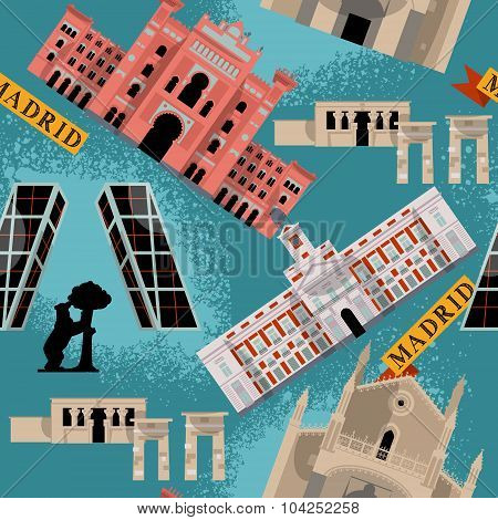 Sights Of Madrid. Spain, Europe. Seamless Background Pattern.
