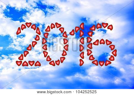 New Year 2016 Made From Hearts On Sky Sky Background