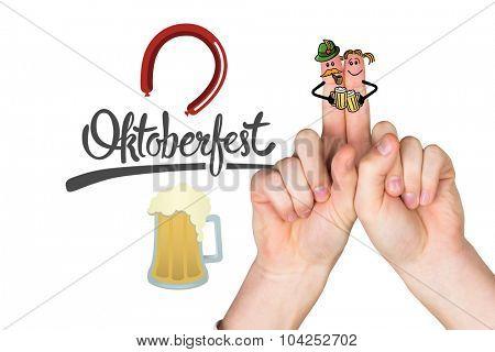 Oktoberfest character fingers against oktoberfest graphics