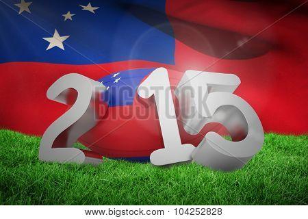 Samoa rugby 2015 message against samoan flag over white background