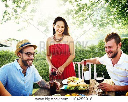 Diverse People Luncheon Food Garden Concept