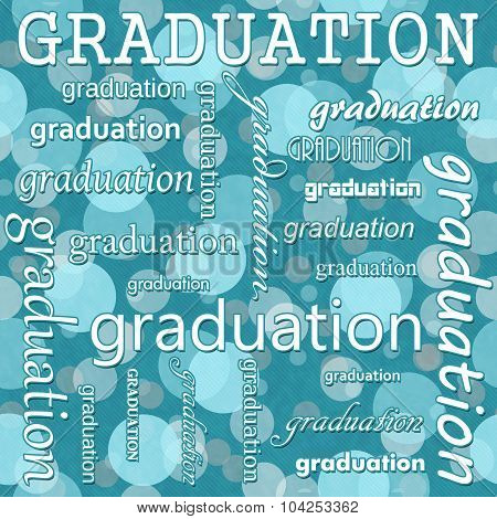 Graduation Design With Teal Polka Dot Tile Pattern Repeat Background