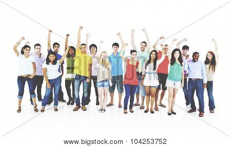 Success People Youth Culture Together Students Cheerful Concept