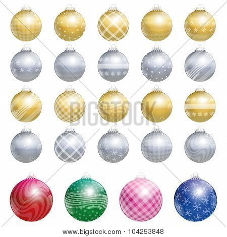 Christmas Tree Balls Gold Silver Twenty Four