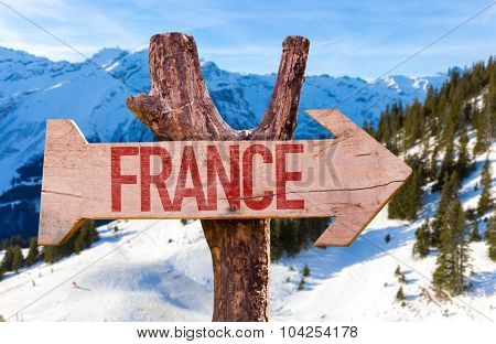 France wooden sign with winter background