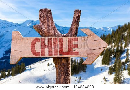 Chile wooden sign with winter background