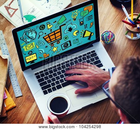 Online Marketing Strategy Branding Commerce Advertising Concept
