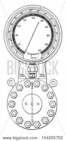 Gauge of 80 tonnes of the company Lyon, vintage engraved illustration. Industrial encyclopedia E.-O. Lami - 1875.