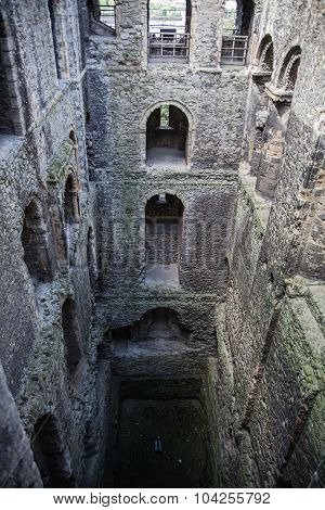 ROCHESTER, UK - MAY 16, 2015: Rochester Castle 12th-century. Inside view of  castle's ruined palace
