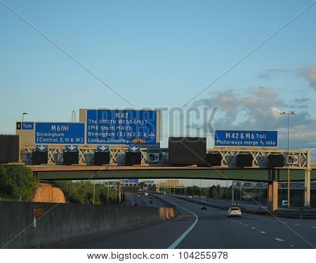 Blue Motorway Signs UK M6 M42